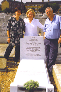 Ruth Lask, Dora's great-niece, Kathi Diamant and Zvi Diamant, August 11, 1999, the day the stone was placed.