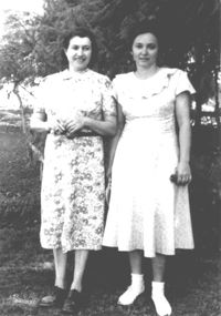 Dora with Ruhama Maletz, En Charold Kibbutz, 1950. Dora with the wife of David Maletz, Dora's Hebrew teacher from Bedzin, Poland. The hairbrush was a family secret until after Ruhama's death in 1992.